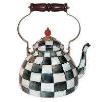 Courtly Check Enamel Tea Kettle 3 Qt