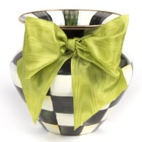 Courtly Check Enamel Vase Large Green Bow