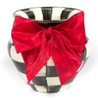 Courtly Check Enamel Vase Large Red Bow