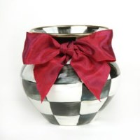 Courtly Check Enamel Vase Red Bow