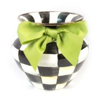 Courtly Check Enamel Vase w Green Bow