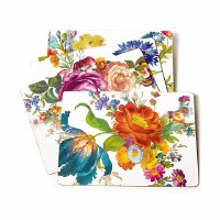 Flower Market White Cork Back Placemats S/4
