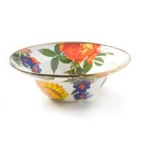 Flower Market White Enamel Breakfast Bowl