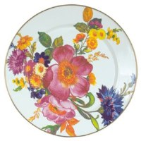 Flower Market White Enamel Dinner Plate