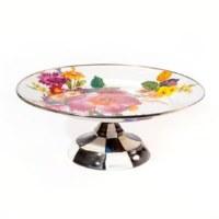 Flower Market White Enamel Pedestal Platter Small