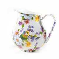 Flower Market White Enamel Pitcher