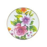 Flower Market White Enamel Salad/Dessert Plate