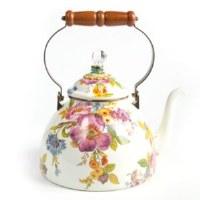 Flower Market White Enamel Tea Kettle 3 Qt