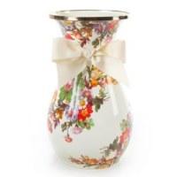Flower Market White Enamel Vase Tall
