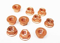 Exhaust Nuts. Copper. Set 10