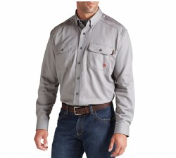Men's Fire resistant Solid Work Shirt Silver Fox