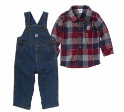 Boy's 2 Piece Flannel Overall Set