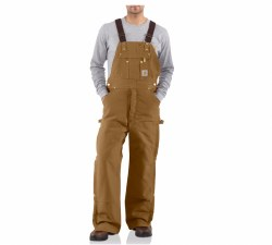 Men's Duck Zip-to-Thigh Bib Overall/Quilt-Lined