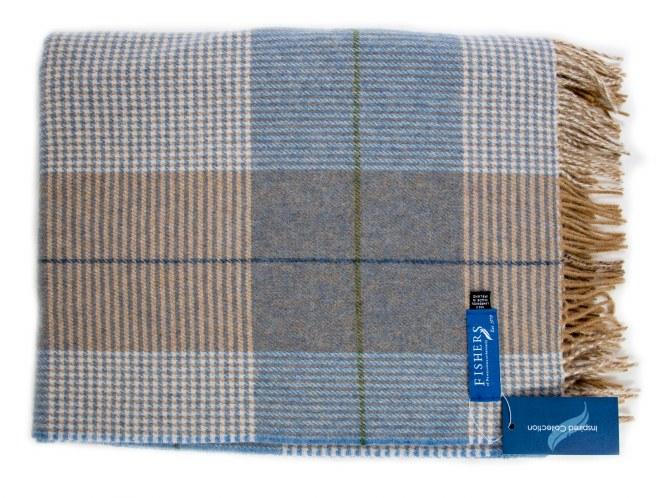 Fishers Lambswool Throw Beige/Blue-616