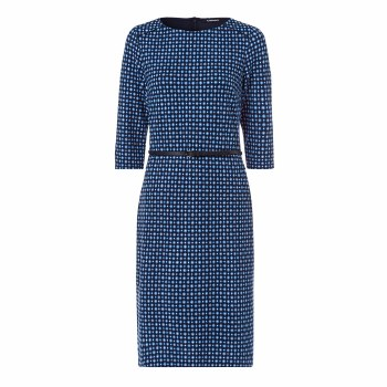 Olsen Print Jeresy Dress 14 Blue/Navy