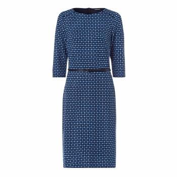 Olsen Print Jeresy Dress 10 Blue/Navy