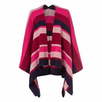 Olsen Stripe Knit Cape  Barolo Red