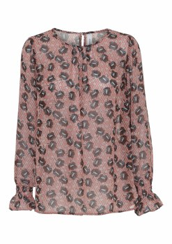 Soya Concept Blondie Print Blouse 10 Rose Smoke