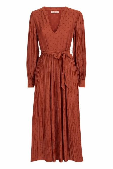 TP BNY11642 Dot Pleat Dress XL Rust