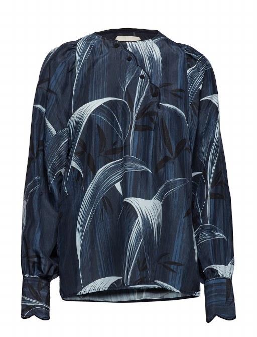 Noa Noa Silk Blouse 12 Grey Blue
