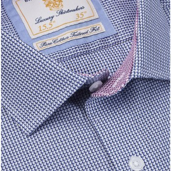 Brook Taverner Tailored Fine Check Shirt 15.5 Navy