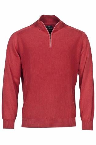 Baileys Plain Quarter Zip Knit Jumper M Red