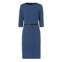 Olsen Print Jeresy Dress 10 Blue/Navy