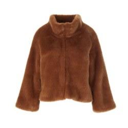 Riverwoods Short Faux Fur Coat L Caramel