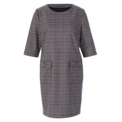 Riverwoods Check Dress 14 Navy