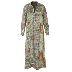 Riverwoods Long Print Dress 10 Green