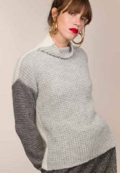 Fisherman Out of Ireland Colour block Waffle Knit Jumper L