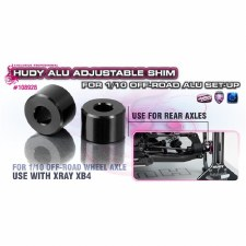 Hudy Aluminum Rear Axle Spacer for XB4 and 1/10 Set-Up Systems (4)