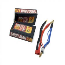 Racer's Edge 7.4V 2S 5800mah 100C Saddle Pack Lipo Battery with Deans Connector