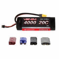 """Venom 7.4V 4000mah 2S 20C """"Rounded Case"""" Lipo Battery with Universal Connector"""