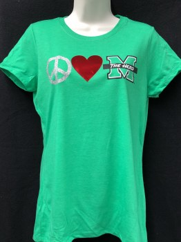 Peace, Love, M Ladies Tee- XS