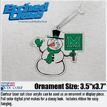 Snowman with 'M' Sign Ornament