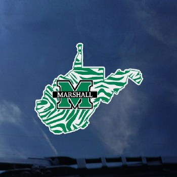 State outline with M/Marshall decal on zebra background