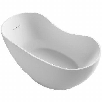 "Abrazo®  66"" x 32"" freestanding bath with center toe-tap drain"