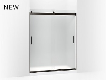 "Levity®  Sliding shower door, 74"" H x 56-5/8 - 59-5/8"" W, with 1/4"" thick Frosted glass and blade handles"