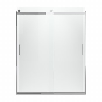 """Levity® Sliding shower door, 74"""" H x 56-5/8 - 59-5/8"""" W, with 1/4"""" thick Crystal Clear glass and blade handles"""