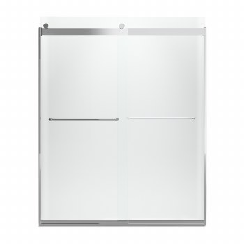 "Levity®  Sliding shower door, 74"" H x 56-5/8 - 59-5/8"" W, with 1/4"" Frosted glass and towel bars"