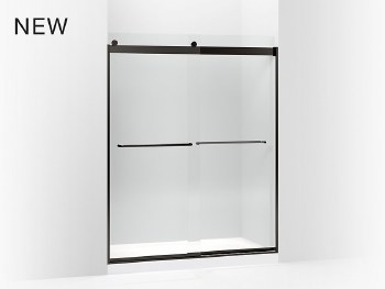 "Sliding shower door, 74"" H x 56-5/8 - 59-5/8"" W, with 1/4"" Crystal Clear glass and towel bars"