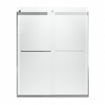 """Levity®  Sliding shower door, 74"""" H x 56-5/8 - 59-5/8"""" W, with 1/4"""" Crystal Clear glass and towel bars"""