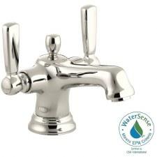 Bancroft®  Monoblock single-hole bathroom sink faucet with escutcheon and metal lever handles
