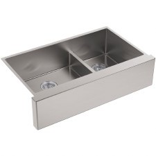 "Strive®  Self-Trimming® SmartDivide® 35-1/2"" x 21-1/4"" x 9-5/16"" under-mount large/medium double-bowl kitchen sink with tall apron"