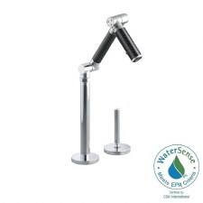 "Karbon® articulating deck-mount bar sink faucet with 6"" spout, Black tube and lever handle"