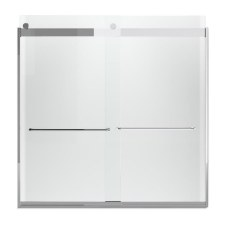 """Levity®  Sliding bath door, 59-3/4"""" H x 56-5/8 - 59-5/8"""" W, with 1/4"""" thick Crystal Clear glass and towel bars"""
