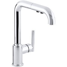 "Purist® Single-hole kitchen sink faucet with 8"" pullout spout"