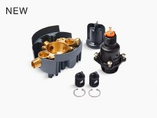 Rite-Temp®  pressure-balancing valve body and cartridge kit with service stops