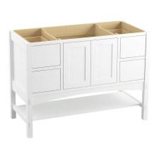 "Jute®  48"" wall-hung bathroom vanity cabinet with 2 doors and 2 drawers, split top drawer"